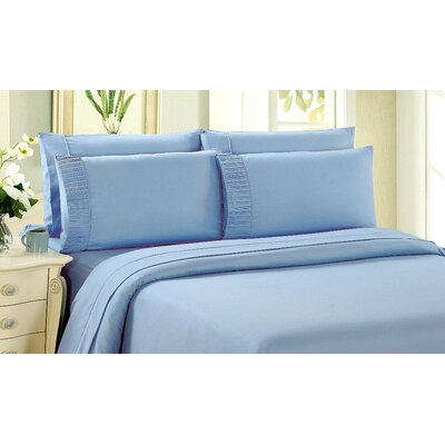 Byrnes Comfort and Soft Fitted Sheet Size: Double/Full, Color: Light Blue