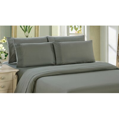 Byrnes Comfort and Soft Fitted Sheet Size: King, Color: Gray