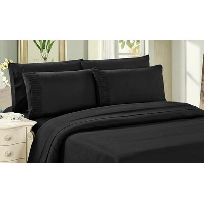 Byrnes Comfort and Soft Fitted Sheet Size: King, Color: Black