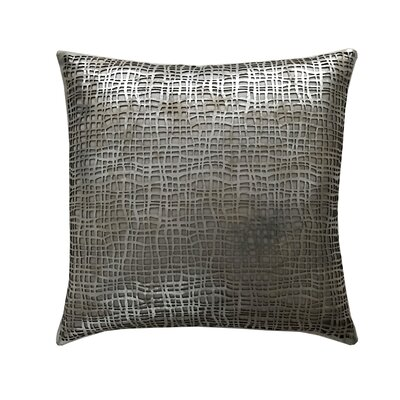 Wave Leather Throw Pillow Color: Silver/Beige