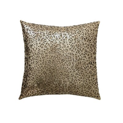 Medallion Leather Throw Pillow Color: Gold/Beige