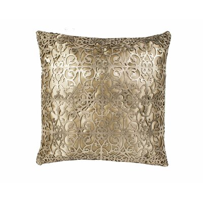 Palace Leather Throw Pillow Color: Gold/Beige