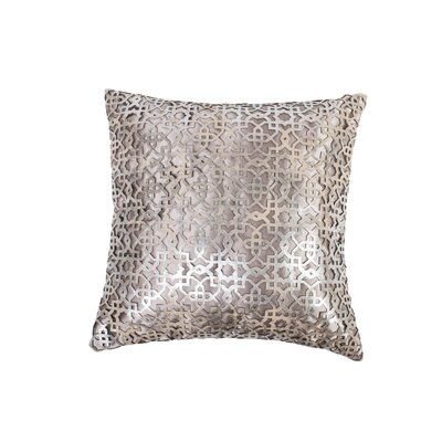 Ottoman Leather Throw Pillow Color: Silver/Beige