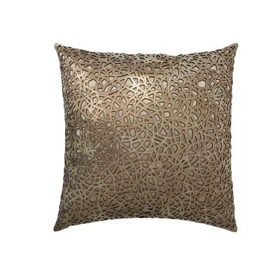 Medallion Leather Throw Pillow Color: Copper/Beige