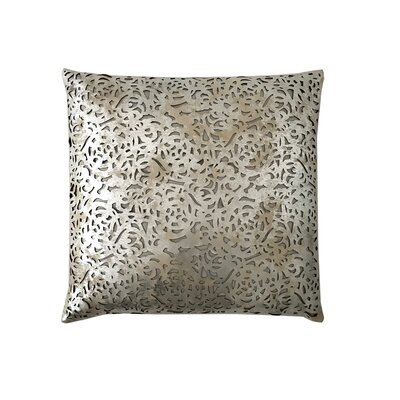 Rose Leather Throw Pillow Color: Silver/Beige