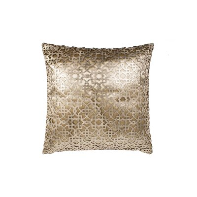 Ottoman Leather Throw Pillow Color: Gold/Beige