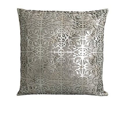 Palace Leather Throw Pillow Color: Silver/Beige