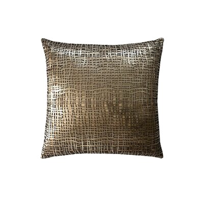 Wave Leather Throw Pillow Color: Gold/Beige