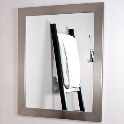 """Tall Vanity Wall Mirror Size: 32"""" H X 21.5"""" W X 0.75"""" D, Finish: Stainless Silver"""