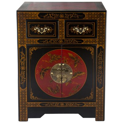 Oriental Antique Style 2 Drawer Nightstand