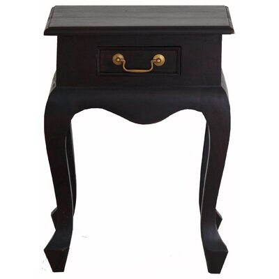 Queen Anne Fine Handcrafted Solid Mahogany Wood Nightstand Finish: Espresso