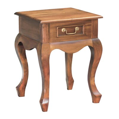 Queen Anne Fine Handcrafted Solid Mahogany Wood Nightstand Finish: Walnut