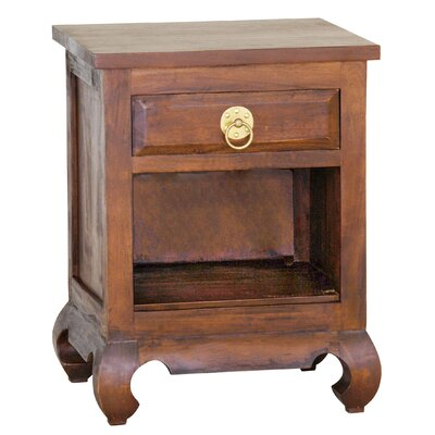 Shanghai Fine Handcrafted Solid Mahogany Wood Nightstand Finish: Walnut