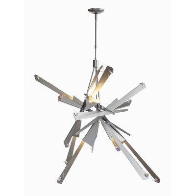 Pelton 6-Light Geometric Pendant Finish: Burnished Steel, Size: Short