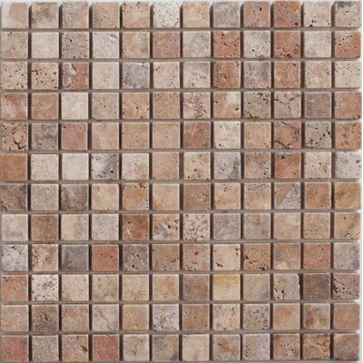 Honed 1 x 1 Travertine Mosaic Tile in Scabos