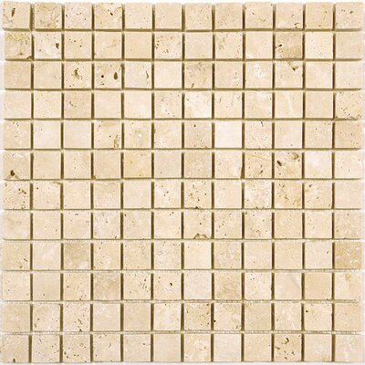 1 x 1 Travertine Mosaic Tile in Ivory