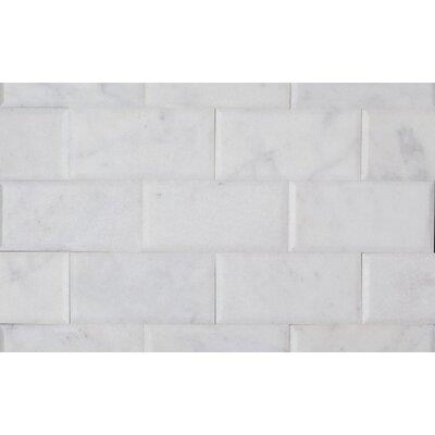 Milas 3 x 6 Marble Mosaic Tile in Bianco Venantino