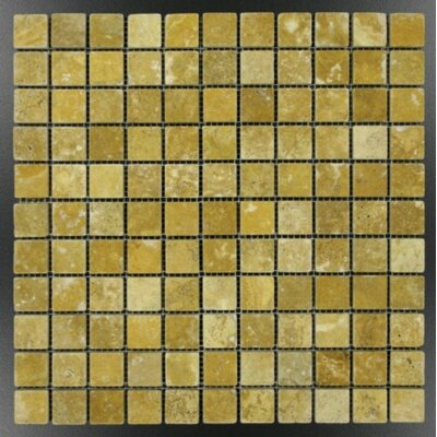 1 x 1 Travertine Mosaic Tile in Gold