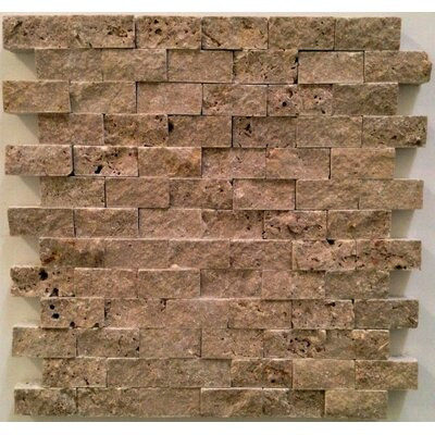 1 x 2 Travertine Mosaic Tile in Noche