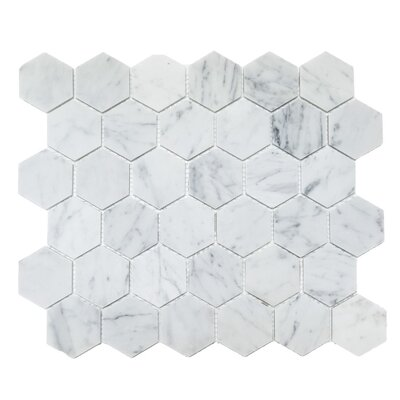 Honeycomb Hex Polished 2 x 2 Mosaic Tile in Bianco Carrara