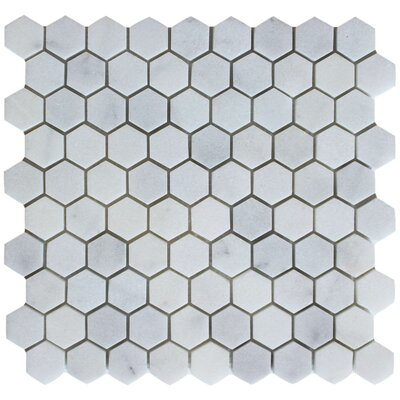 Honeycomb Hex Honed 1.25 x 1.25 Mosaic Tile in Bianco Venantino