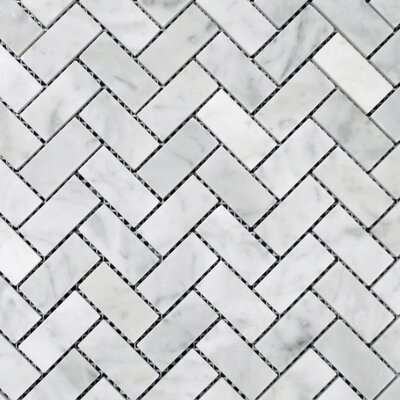 Herringbone Honed 1 x 2 Mosaic Tile in Bianco Venantino
