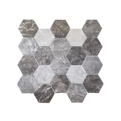 Hex Honeycomb 3 x 3 Mosaic Tile in Bardiglio