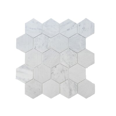 Hex Honeycomb 3 x 3 Mosaic Tile in Bianco Carrara