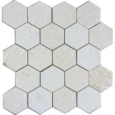 Hex Honeycomb 3 x 3 Mosaic Tile in Corinthian Fossil
