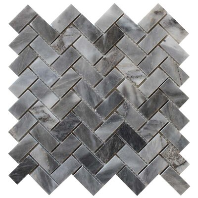 Herringbone Polished 1 x 2 Mosaic Tile in Bardiglio