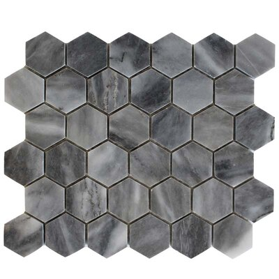 Honeycomb Polished 2 x 2 Marble Mosaic Tile in Bardiglio