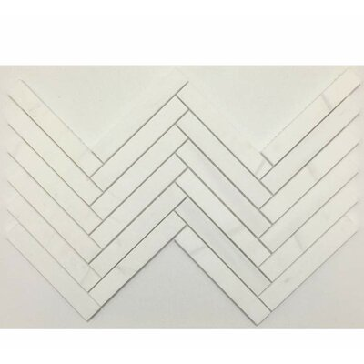 Herringbone Honed 1 x 6 Mosaic Tile in Bianco Dolomite