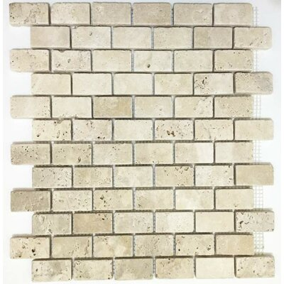 Tumbled 1 x 2 Travertine Mosaic Tile in Ivory