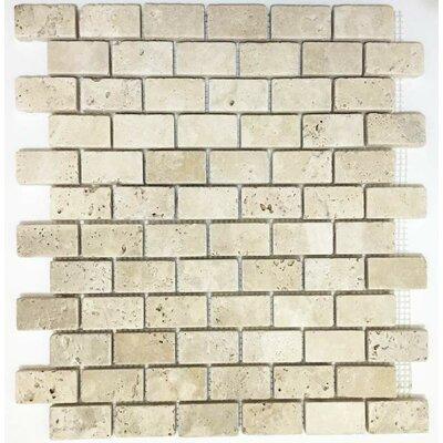 Tumbled 1 x 2 Travertine Mosaic Tile in Ivory