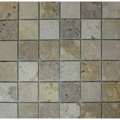 Mix 2 x 2 Mosaic Tile in Ivory/Noche/Gold