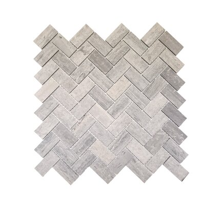 Herringbone Honed 1 x 2 Mosaic Tile in Blue Savoy