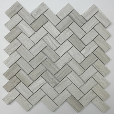 Herringbone Honed 1 x 2 Mosaic Tile in Wooden White