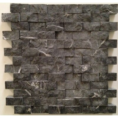 Splitface 1 x 2 Marble Mosaic Tile in Taurus Black