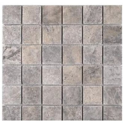 Tumbled 2 x 2 Travertine Mosaic Tile in Silver