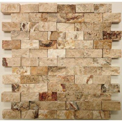 Splitface 1 x 2 Travertine Mosaic Tile in Beige