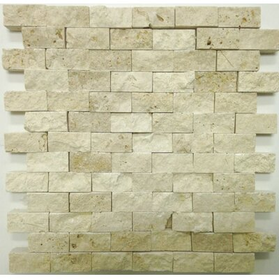 Splitface 1 x 2 Travertine Mosaic Tile in Ivory