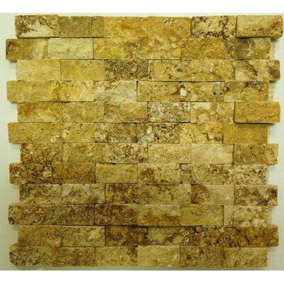 Splitface 1 x 2 Travertine Mosaic Tile in Yellow