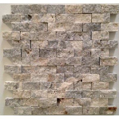 1 x 2 Travertine Mosaic Tile in Silver/Gray