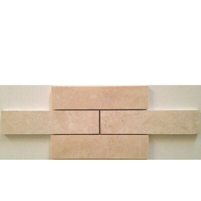 2 x 8 Travertine Mosaic Tile in Ivory
