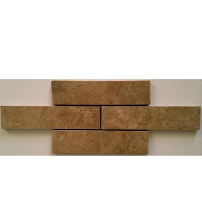Honed and Filled 2 x 8 Travertine Mosaic Tile in Noche