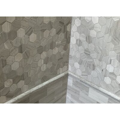 Honeycomb Hex Honed 2 x 2 Mosaic Tile in Wooden White