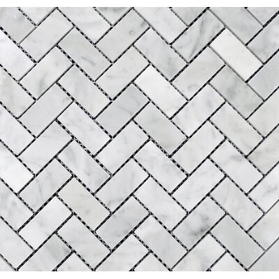 Herringbone Honed 1 x 2 Mosaic Tile in Bianco Carrara