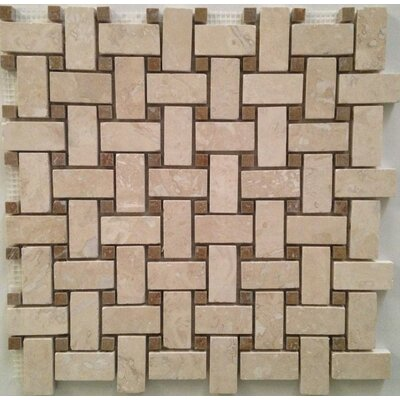 Basket Weave Honed & Filled Mosaic Tile in Ivory