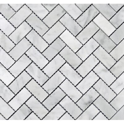 Herringbone Polished 1 x 2 Mosaic Tile in Bianco Carrara
