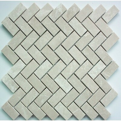 Herringbone Polished 1 x 2 Mosaic Tile in Botticino